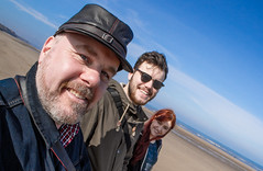 We three beach. (CWhatPhotos) Tags: uk blue sea portrait england sky people sun fish eye beach sunglasses that lens glasses coast march photo sand day skies foto with view angle image artistic photos pics dunes sandy dune north wide sunny pic olympus images shades east fisheye have photographs photograph fotos views which contain hartlepool containing samyang crimdon cwhatphotos epl5