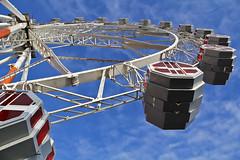 Noria  -  Wheel 02 (ricardocarmonafdez) Tags: city blue sky urban color wheel azul clouds canon eos ngc perspective ciudad cielo nubes urbano perspectiva baleares noria palmademallorca fairwheel ricardocarmonafdez