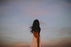 New Moon Rises (Dean Raphael) Tags: new autumn sunset portrait people woman moon cinema color art love weather hair landscape freedom model women mood skies colours desert bokeh dusk pastel fine fullmoon cinematic skie