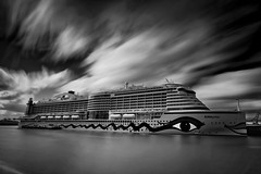AIDAprima  [Explored] (T.Seifer) Tags: longexposure blackandwhite bw white black monochrome clouds port germany deutschland blackwhite nikon wasser ship harbour hamburg wolken nd nikkor fx hafen elbe aida haida langzeitbelichtung whiteandblack whiteblack weitwinkel ndfilter d700 weisschwarz nikkor1635 aidaprima