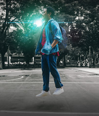 Levitating. (Alleat) Tags: blue red indonesia sneakers jeans bandung swank friday adidas snob levitate alit menteng biondi