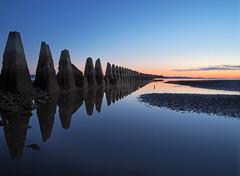Sea sentinels (holding back the day) (kenny barker) Tags: longexposure sea water night dawn scotland cramond