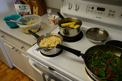 Easter Dinner 2016 (Vegan) (Vegan Butterfly) Tags: family red food green dinner easter salad vegan yummy potatoes beans corn rice tomatoes grain tasty plate roast onions delicious lettuce vegetarian supper cob bake spinach croutons baked roasted