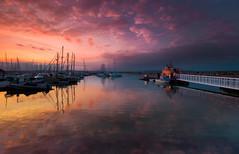Brixham twilight (snowyturner) Tags: sunset clouds reflections boats pier bravo harbour lifeboat devon brixham