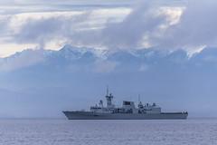 HMCS Ottawa (Paul Rioux) Tags: canada clouds washington marine ship military ottawa navy vessel canadian frigate warship canadianarmedforces olympicmountains hmcs juandefucastrait royalcanadiannavy canadiannavy prioux