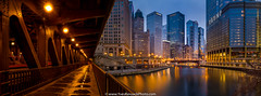 Chicago by the William P. Fahey bridge (Yves Kéroack) Tags: city winter sunset chicago skyscrapers riverside hiver ville coucherdusoleil gratteciels williampfaheybridge yveskéroackphoto