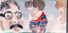Sie waren blond oder brnett, sie waren seinem Charme erlegen; er hatte sie geliebt, Alle. (raumoberbayern) Tags: summer bus pencil subway munich mnchen sketch drawing sommer tram sketchbook heat ubahn draw bleistift robbbilder skizzenbuch zeichung