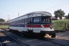 SEPTA 209 8-18-90 (jsmatlak) Tags: philadelphia electric train railway bullet interurban septa norristown brill pw