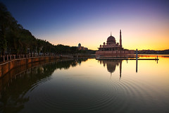 Dawn At Putra Mosque (KembaraAlam) Tags: reflection architecture sunrise canon landscape photography dawn scenery asia cityscape mosque serenity malaysia putrajaya discovery masjid photohunt phototrip discover phototravel putramosque singhray leefilter masjidputra discovermalaysia malaysiaexplorer