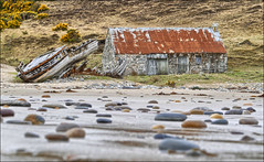 It's Over (McRusty) Tags: roof red abandoned beach broken bay scotland boat fishing sand rocks stones north ruin rusty highland wreck desolate bothy talmine