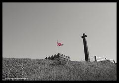 Summit (larry_shone) Tags: blackandwhite bw monochrome flag whitby selectivecolour