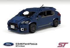 Ford Focus Mk3 ST (C346MCA 2015-Present) (lego911) Tags: auto ford car st model focus lego render company turbo motor hatch cad hatchback povray 5door c1 recaro moc mkiii mk3 ldd 2015 miniland 5dr foitsop 2010s ecoboost lego911 c346 c346mca