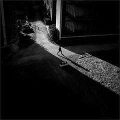 A Moment in the Spotlight (Olli Keklinen) Tags: above shadow bw woman photoshop buildings suomi finland square helsinki nikon walker d800 malmi 2016 ok6 ollik work4087 20160502