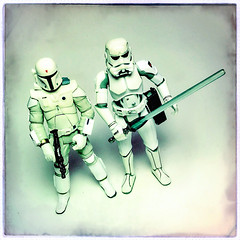 Boba Fett & Storm Trooper - McQuarrie (Evan MacPhail Photography) Tags: evan square toy photography star photo starwars r2d2 stormtrooper boba wars ralph fett mcquarrie ralphmcquarrie macphail hipstamatic