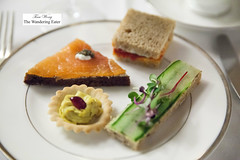 Tea sandwiches - Scottish smoked salmon, cucumber, sundried tomato and roasted pepper, curry chicken (thewanderingeater) Tags: nyc manhattan champagne afternoontea uppereastside thelowell thepembrokeroom