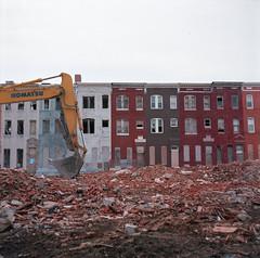 (Josh Sinn) Tags: color abandoned 120 6x6 film mediumformat md kodak maryland baltimore 100 rubble rowhouses mamiyac330 rowhomes ektar joshsinn sandtownwinchester