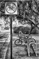 No Bikes (L Geoffroy) Tags: street old city travel urban abstract building brick broken public station bike bicycle wheel sign sport metal stone wall modern vintage silver tile grey design stand day ride bright outdoor lock steel space empty grunge parking transport lifestyle security front dirty retro rack cycle transportation lonely aged