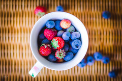 Tasty (katarri) Tags: blue red summer food orange brown white cup nature fruits garden 50mm strawberry nikon strawberries tasty delicious blueberry mug summertime organic nikkor blueberries d7000 nikond7000
