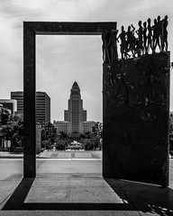 Los Angeles   |   Los Angeles City Hall (JB_1984) Tags: california ca door shadow blackandwhite bw usa tower art skyscraper mono la losangeles artwork downtown unitedstates cityhall framed doorway socal installation framing southerncalifornia civiccenter cityofangels downtownlosangeles losangelescityhall losangelescounty