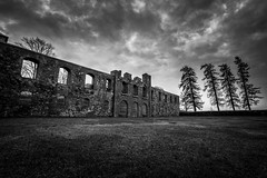 Grfsns Castle Ruins (Arvid Bjrkqvist) Tags: old trees sky blackandwhite bw castle history monochrome grass clouds dark mono ruins mood sweden ruin dramatic remains slott grfsns canon6d