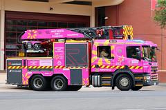Pink Wrapped Adelaide 203 (adelaidefire) Tags: pink classic truck fire day south australian mothers service sa metropolitan metz scania mfs rosenbauer 1401 samfs sasgar signlab mdcpinktruck