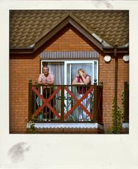 balcony view (Leo Reynolds) Tags: people polaroid fake faux phoney fakepolaroid fauxpolaroid poladroid phoneypolaroid xleol30x xxx2015xxx