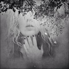 Soul (Holga-Jen) Tags: portrait blackandwhite bw woman selfportrait painterly abstract art girl self square mono artistic secret gothic fine goth dramatic surreal spooky hide haunting dreamy hiding textured iphone iphoneography gothicdramatic