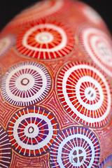 Red Spools (Katy David Art) Tags: red white color art modern folkart purple folk circles egg goose wax dye eggshell batik pysanka ukrianian pysanky