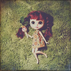 "34/365.  ""Mary, Mary, quite contrary, how does your garden grow?""   Poppy says her garden only grows Violetpie veggies!   (earthchilde27) Tags: blythe funnybunny violetpie"