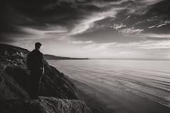 No Easy Way (J.Para) Tags: ocean sunset white black beach monochrome clouds self pier solidarity cliffside