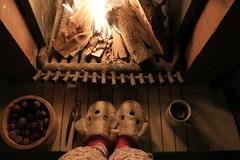 Cold, cozy nights, hot fire & tea (Maria Emma.) Tags: night fire woods fireplace tea nuts pajamas slippers cupoftea hottea dogslippers week3theme 52weeksthe2016edition