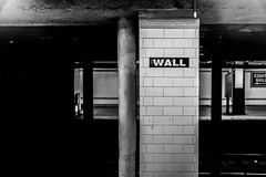 WALL (wwward0) Tags: nyc station sign underground subway tile manhattan text financialdistrict cc mta column wallst fidi wwward0