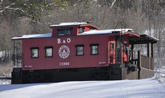 New Plymouth, Ohio (1 of 4) (Bob McGilvray Jr.) Tags: wood railroad ohio red train wooden tracks caboose cupola oh bo bb bedbreakfast newplymouth baltimoreohio