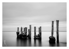 HIDDEN BEAUTY (Vaughan Laws Photography | www.lawsphotography.com) Tags: longexposure blackandwhite bw white black monochrome composition canon landscape pier outdoor jetty fineart le pilings tyres ndfilter neutraldensityfilter westernportbay longshutterexposure blackandwhitefineart hiddenwreck canon6d nd10stop lawsphotography vaughanlaws longexposurebwfineart