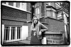 No Time This Time (Steve Lundqvist) Tags: portrait people bw 6 white house black london girl look fashion architecture yard vintage garden sweater backyard looking moda young tshirt retro wear clothes trendy blonde teenager trend posh six londra ritratto sporty ragazza sloppy giovani fashionable monocrome felpa