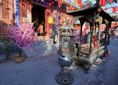 Fire God Temple - prayer hall and incense burner (Bruce in Beijing) Tags: history temple religion beijing culture traditions daoist taoist incenseburner springfestival shichahai qianhai xicheng templearchitecture jaderiver firegodtemple huodezhenjuntemple