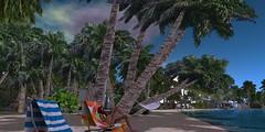 Carla_Dreamers_020916_017 (Carla Putnam) Tags: ocean blue sea sky woman cloud beach rain weather clouds palms relax island sand surf cloudy wave redhead sl palmtrees bikini secondlife tropical lounging redhair raining precipitation