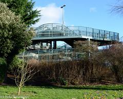 View of Railway Bridge from Radipole Park (lyn-anne) Tags: park flowers colour tree architecture landscape afternoon walk bluesky railwaybridge d5100 nikond5100 weymouthrailwaybridge usingmanualsettings