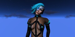 Kit_Cyber_Mellor_021616_039 (Carla Putnam) Tags: blue woman black look fashion night hair fly flying nipples jet sl pack secondlife future looks harness futuristic cyber cyberpunk hovering hover fashions lighted neurolab