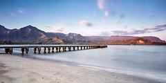 Hanalei Bay Pier (Trevor Tutt) Tags: ocean longexposure morning mountains water clouds sunrise hawaii pier jetty kauai hanaleibay trevortutt