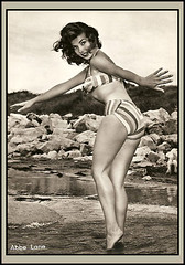 Abbe Lane at the beach C. 1950s (VintageCool) Tags: old 1920s blackandwhite woman sexy classic film beach girl beauty smiling sepia female movie photography photo 1930s model sand women 60s babe retro 1940s bikini photograph hollywood 1950s actress 70s actor 50s 1960s elegant 1970s pinup 30s 40s 20s abbelane