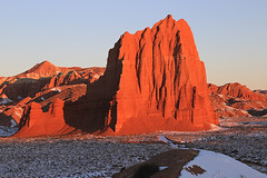 Sunrise on the Temple of the Sun, February 2016 (Bob Palin) Tags: winter usa snow cold southwest sunrise canon landscape utah nationalpark sandstone desert outdoor 100v10f february capitolreef redrock cathedralvalley 100vistas instantfave canonef24105mmf4lisusm ashotadayorso cloudsstormssunsetssunrises orig:file=2016020805094