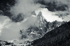 in the clouds (sabrandt) Tags: winter blackandwhite bw mountain storm france alps clouds europe skiing chamonix epic montblancmassif
