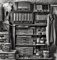 Dad's workshop (Ales Kladnik) Tags: bw monochrome still tools stuff cramped topaz dense adjust fructal