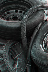 Black and white 3D Tyres (daniellemartin311) Tags: blackandwhite stilllife 3d rusty tyres threedimensional