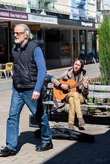 Thank You (Jocey K) Tags: newzealand christchurch people music building bench shadows guitar seat bin shops busker newregentst