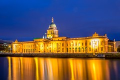 The Custom House at dusk (Kuba Abramowicz) Tags: blue ireland light dublin house color colour reflection water colors yellow architecture night composition reflections river lights twilight nikon colorful europa europe long exposure european republic colours waterfront dusk capital eu front liffey reflect nikkor custom buldings refelction bulding d610 2470 nikor