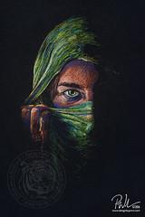 Beyond the Veil (Paul-M-W) Tags: woman eye girl beauty pencil eyes veil mask drawing pastel hide arabia arabian sari conte
