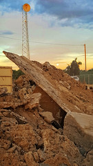 APOCALYPSE (akahawkeyefan) Tags: sky moon tower concrete cellphone dirt kingsburg davemeyer