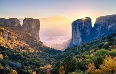 The Last of the Sun  Meteora, Greece (Mark Iandolo) Tags: travel autumn sunset mountains church nature landscape landscapes europe unescoworldheritagesite unesco wanderlust explore greece monastery monolith meteora